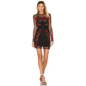 L+F Morella Dress Sheer Mesh Floral Roses Cut-Outs